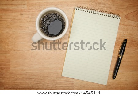 Blank Pad of Paper ready for your own text, Pen & Coffee