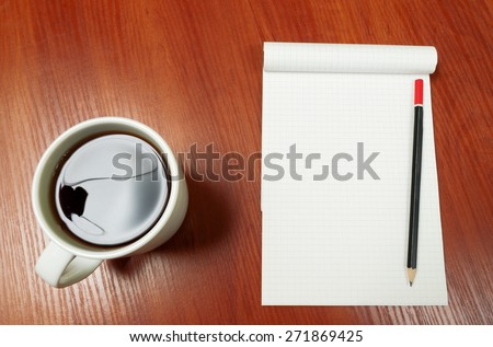 Blank Pad of Paper ready for your own text, Pen & Coffee.