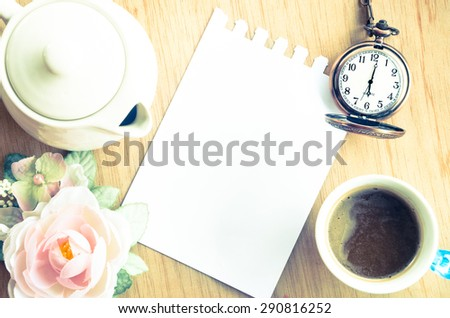 Blank Pad of Paper ready for your own text, pocket watch & Coffee. Vintage style.