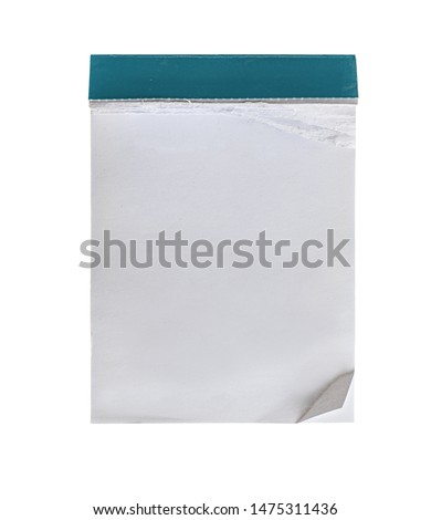 blank pad or tear-off calendar with about half of the pages torn out isolated on white background #1475311436