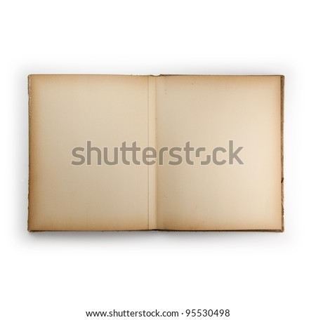 Blank page of an 1950s photo album or scrap book, isolated on white.