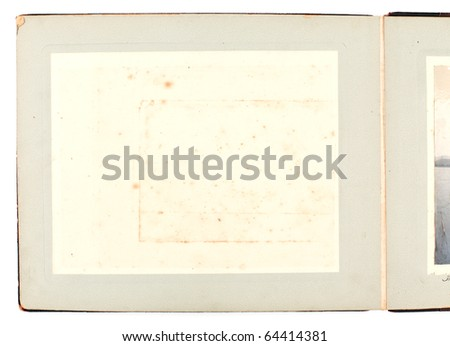 Blank page of Antique Photo Album with light grey pages - stock photo