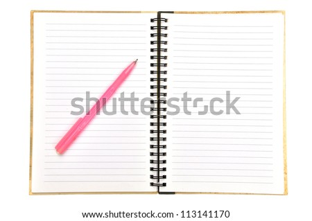 blank page of note book and pen on white isolate,good used for web or background