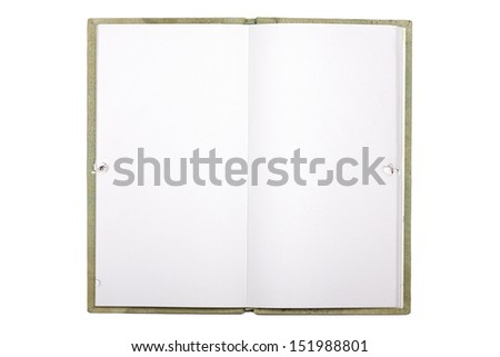 blank page of note book with  isolated on white.