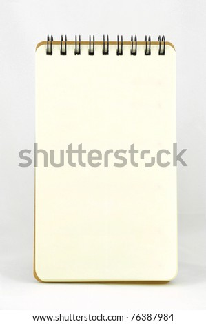 Blank page of vertical note book (No line) on white background