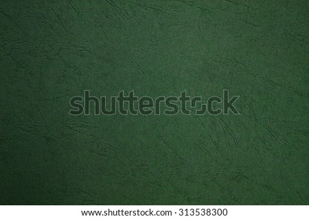 Blank page still life paper texture background with leather lines markings effect, full frame. Close up detail of textured sheet of green color organic art paper. Background rough wall emerald color.