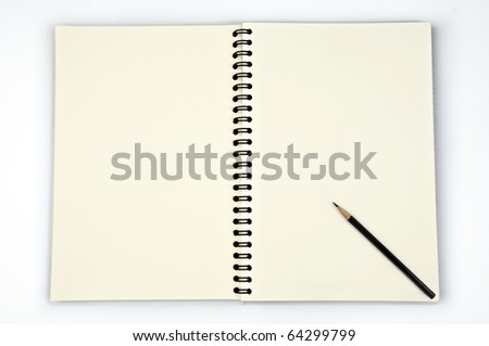 Blank pale yellow paper with cover and black pencil