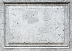 Blank panel in grey stone with crack,Vintage or grunge white wall