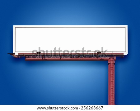 Blank panoramic billboard sign on blue  background with space for advertising message