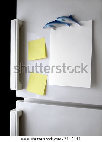 Blank paper and post-it on refrigerator door.
