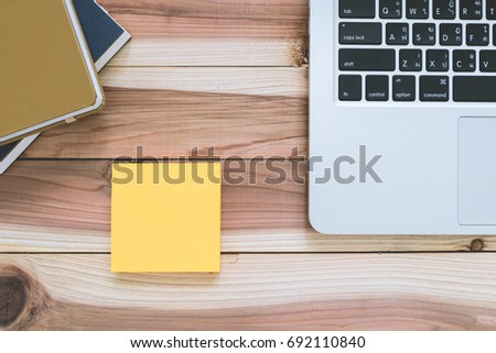 blank paper and stationery on wooden table desktop, business office equipment background #692110840
