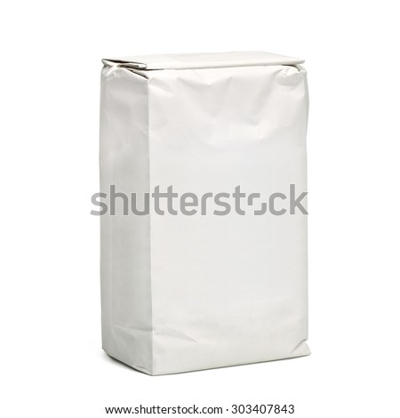 Blank paper bag package of flour isolated on white background including clipping path
