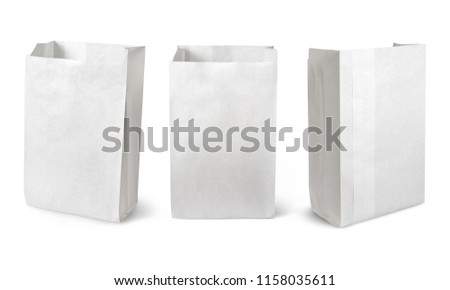 Blank paper bag set isolated on white background with clipping path