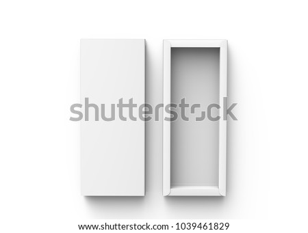 Blank paper box, 3d render rectangle gift box mockup with its lid next to it, top view