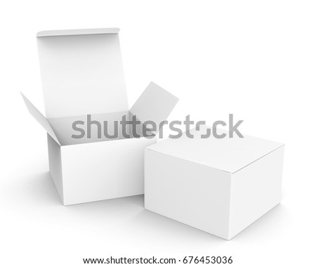 Blank paper box mockup, white paper boxes one open and the other closed in 3d rendering stock photo