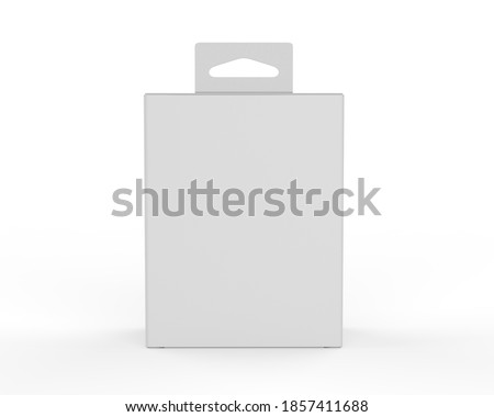 Blank paper box packaging with hand tab for mockup design and branding, 3d render illustration. Stock photo ©