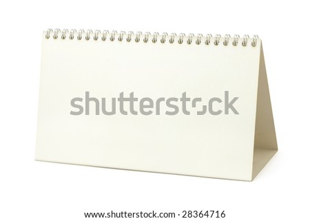 Blank paper calendar isolated on white background