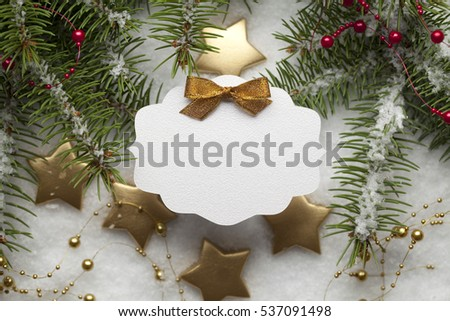 Blank paper card on Christmas background #537091498