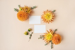 Blank paper cards. Copy space mockup template. Frame made of beautiful ginger dahlia flower buds on peachy pastel background. Flat lay, top view minimalistic floral concept.