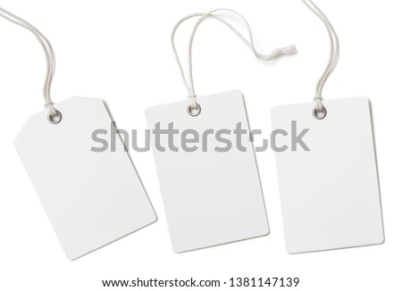 Blank paper cloth labels or price tags set isolated #1381147139
