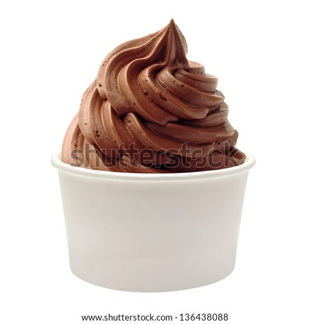 Blank Paper Cup With Soft Chocolate Ice Cream On White Background ...