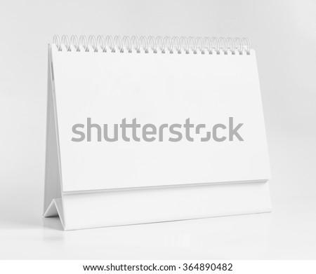 Blank paper desk spiral calendar  #364890482