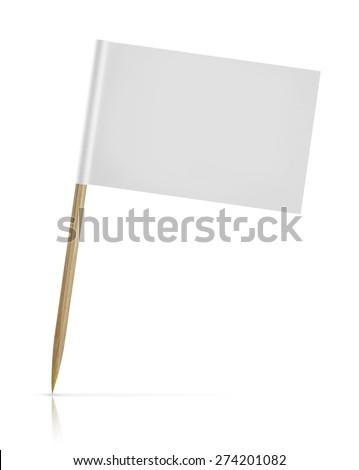 blank paper flag on white Background