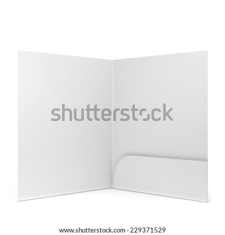 Blank paper folder. 3d illustration isolated on white background