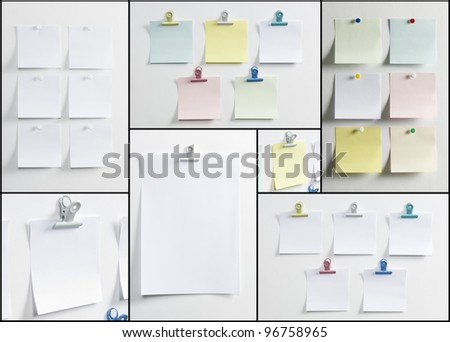 Blank paper, hanging on the wall with a pushpin or forceps - stock photo