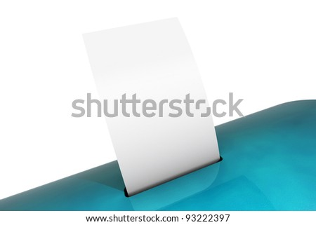 Blank paper in a blue ballot box 3d model - stock photo