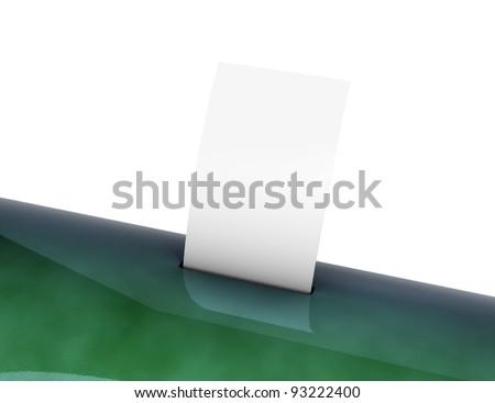 Blank paper in a slot green box 3d model