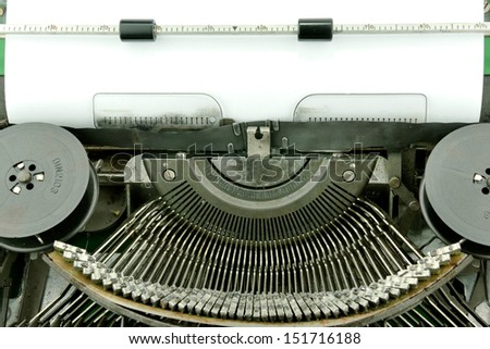 Blank paper in typewriter