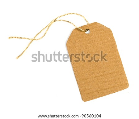 blank paper label isolated on white background