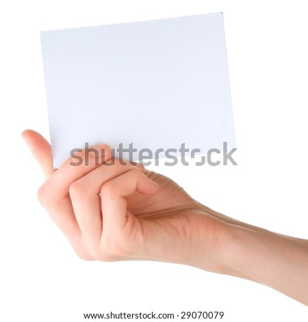 Blank paper leaf in hand