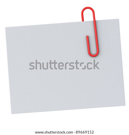 Blank paper note with red paperclip 3d
