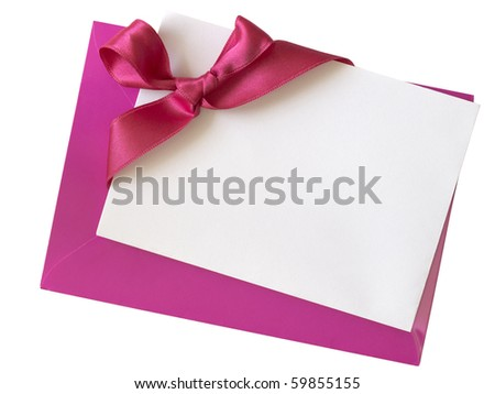 blank paper note with ribbon on pink envelope