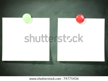 blank paper on blackboard