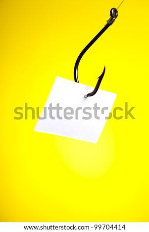 Blank paper on hook