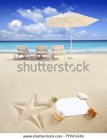 blank paper on white sand beach with shells and starfish print like a summer vacation concept [Photo Illustration]