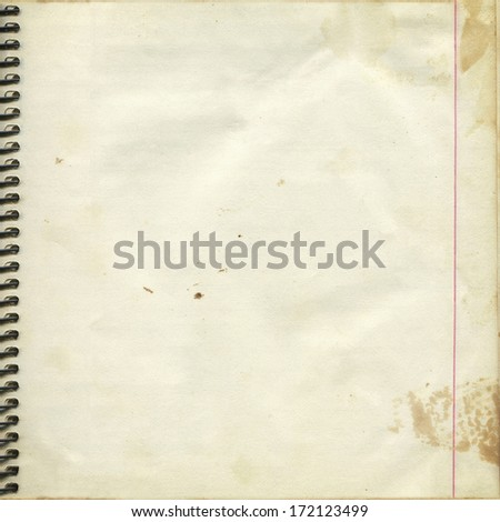 Blank paper page from old spiral notebook, vintage background,  framework for your content