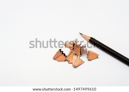 Blank paper pieces and pencil shavings for mock up on a white background #1497499610