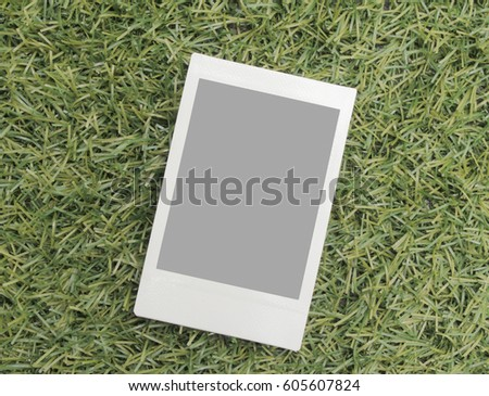 Blank Paper Polaroid Picture Frame Top View on Grass Clipping Path Included