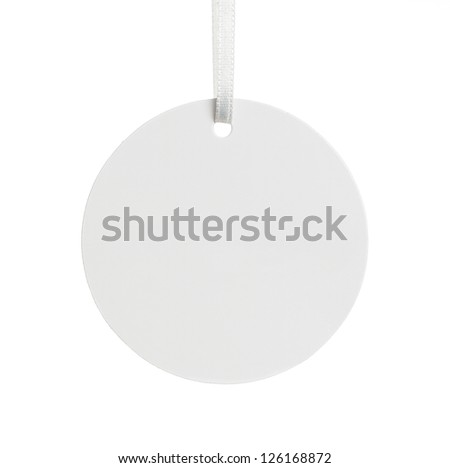 Blank paper price tag isolated on white background with copy space #126168872