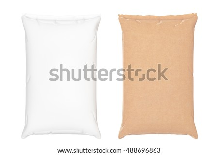 Blank Paper Sacks Cement Bags on a white background. 3d Rendering