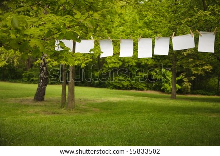 blank paper sheet hanging on a rope outdoor