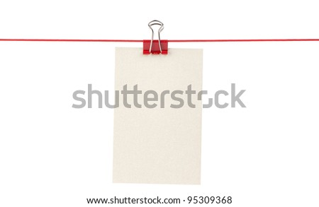 Blank paper sheets on a rope - stock photo