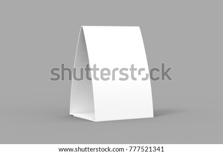 Blank paper table tent isolated on white background, 3d illustration