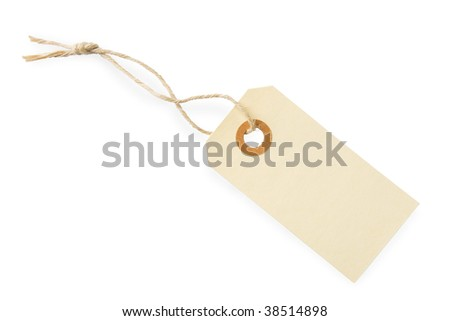 Blank paper tag with cotton string isolated on white background with shadow