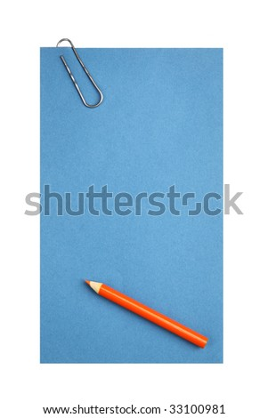 Blank paper with clip and pencil isolated over white background