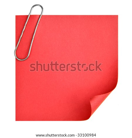 Blank paper with clip isolated over white background